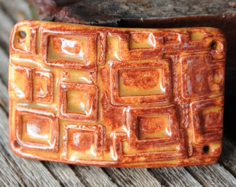 Modern multi squares, a stain glass looking extra large lavish pottery cuff bead