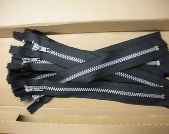 """FREE SHIP Lot of 12 silver on black heavy duty Ideal brand 9"""" zippers for punk, biker projects  -  BearlyArtDesigns Store"""
