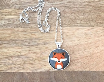 Handmade Fabric Button Necklace, Red Fox Necklace, Fox Pendant, Statement Necklace, Jewelry
