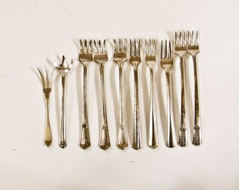 Sterling and Silverplate Forks, Set of 10