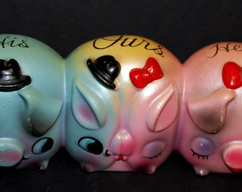 Vintage Enesco Japan TRIPLE Piggy Bank His-Our's-Hers Darling! Three Little hand painted Colorful Piggies