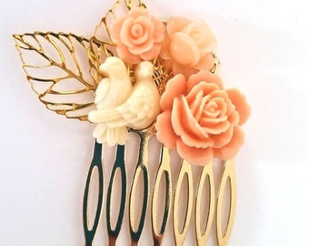 ON SALE Cream and Peach Love Birds Small Cluster Hair Comb - Fascinator Kitschy Cool Offbeat Wedding Bride Bird Animal