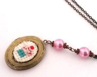 ON SALE Cupcake Cross stitch Locket necklace- xstitch fiber art wearable art  crossstitch Food Kitsch Yummy Sweets Dessert