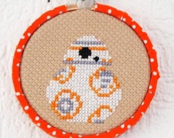 ON SALE BB-8 Star Wars Inspired 3inch 8cm Cross Stitch -  Geekery Sci-Fi Original Design Ready to Hang