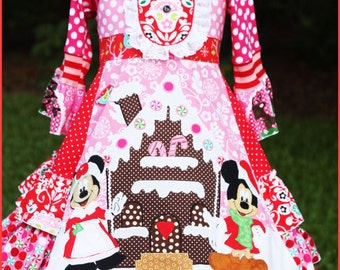 Minnie Mickey Christmas girls Gingerbread house dress custom size