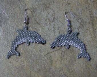 Dolphin Earrings Hand Made Seed Beaded