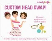 Custom character clipart, head swap option, choose head and body, digital png clip art (500)