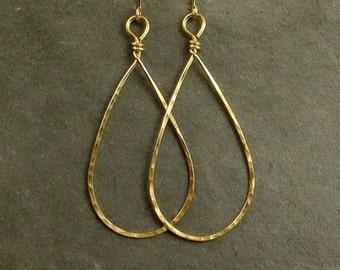 Gold Teardrop Earrings, Drop Earrings, Hammered Gold Teardrops, Large Dangle Earrings, Gifts for Her