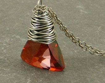 Crystal Necklace, Red Crystal Necklace, Wire Wrap Jewelry, Holiday Jewelry, Gifts for Her