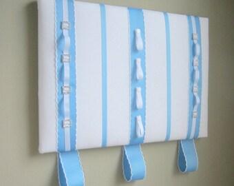 16x20 Ribbon Board Will Hold Hair Clips, Headbands, Ponytail Elastics, Photos White & Medium Blue, Hair Accessory Organizer, Room Organizer