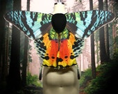 Sunset Moth Costume Wings for Halloween, Rainbow Butterfly Wings, Moth Costume