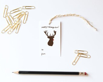 Deer Recycled Paper Eco Friendly Gift Tags Christmas