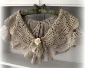 Shabby Capelet,  Bridesmaid Shrug,  Bridal Shawl,  Victorian Style,  Tea Stained, made from  All Vintage, Shabby Chic Shawl