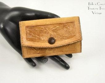 Hand Tooled Leather Key Case Key Holder 4 Hooks Vintage Mexico Eagle Sombrero Cactus Guitar