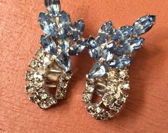 Vintage blue and clear rhinestone earrings