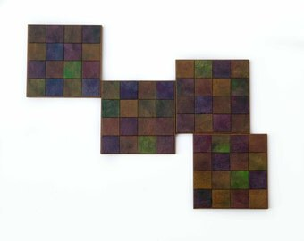 Mosaic Coasters - Square Tiles - Handmade Paper - Checkered Coasters - Paper Tiles - Manly Gift - Jewel Tone - Geometric Design - Table Art