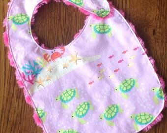 All Girl Ocean Minky Baby/Toddler Bib