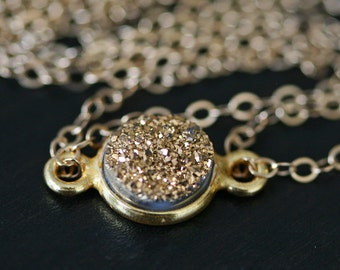Druzy Necklace, Gold Druzy Necklace, Minimal Necklace, Layering Necklace, Short Necklace, Sparkly Necklace