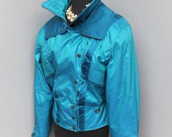 Vintage 80s TYROLIA  Skiwear, Ski Jacket, Blue Ski Jacket size 10, Ski Wear