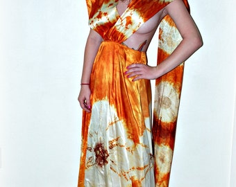 Rare Vintage psychedelic 60's mod tie-dye satin formal elegant party maxi dress