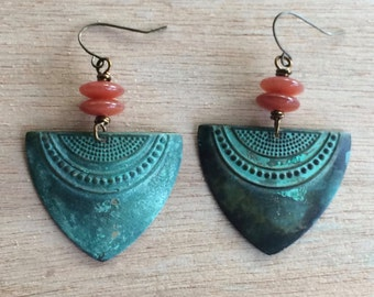 Patina and Rust Dangle Earrings
