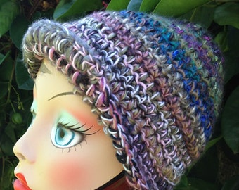 Crochet Hat Rainbow Silk Sugarcane Wool Beret
