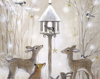 Woodland Bird Table - Giclee Print