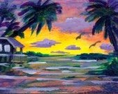 Island House Original painting Collectible aceo art trade card Florida paradise KeROBinson