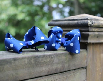 Blue with White Polka Dots Boutique Style Hairbow Set