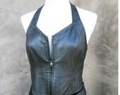 Sexy Vintage Black Leather Halter Top