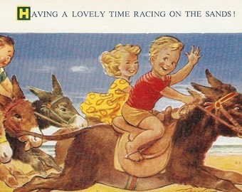 "Bamforth Seaside Kiddies vintage postcard, ""Having a lovely time racing on the sands"" Bamforth Children comic Seaside Kiddy Series PC # 1808"