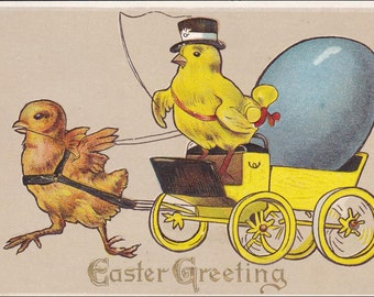 Easter Postcard Chick pulling Carriage, Chick driver,  vintage Easter Greeting postcard