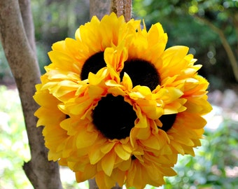 DIY Sunflower Pomander Kit with Tutorial - Sunflower Wedding  - Sunflower Wedding Decor - Sunflower Decor - DIY Flower Pomander