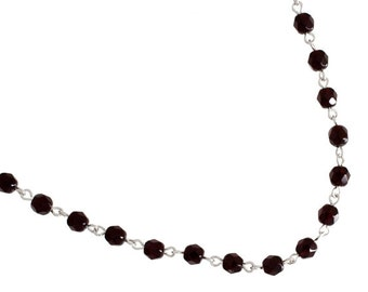 One Meter (3.28 Feet) Czech Glass Beaded Chain-Garnet with Silver Link 5mm (5016)