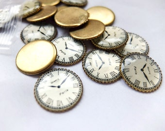 Vintage Brass and Enamel Clock Face Flatbacks / Cabochons - Set of 4 - Scrapbooking, DIY, Jewelry making, kids crafts