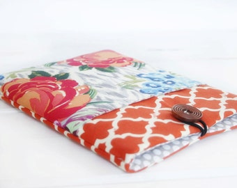 Pocket iPad Case|iPad Mini Case|iPad Air Sleeve|Tablet Case|Tablet Sleeve|Tablet Covers|Made to FIT ANY BRAND tablet|Rosy Posey and Orange