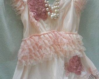30% OFF - June Sale TUNIC Top Romantic Fairylike Boho Whimsical Fairy Princess Ruffles Feminine - Pink