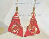 Maine Made Earrings-Cut Glass and Wire Wrap Earrings-Santa red glass jewelry-wearable art-tumbled glass wire jewelry