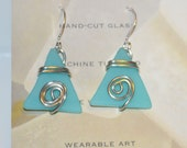 Handmade earrings-Cut Glass and Wire Wrap Earrings-turquoise glass jewelry-wearable art-tumbled glass wire jewelry