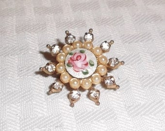 1940s Vintage Snowflake Brooch with Hand Painted Rose and Rhinestones
