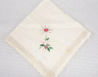 30s 40s Vintage Christmas Hankie with Embroidered Poinsettia