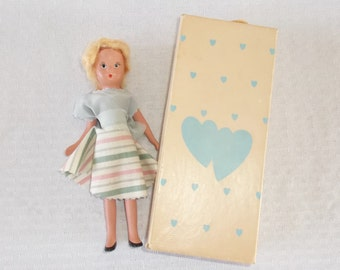 40s 50s Vintage Kerr & Hinz Doll in Original Box Bisque 6 1/2 inches