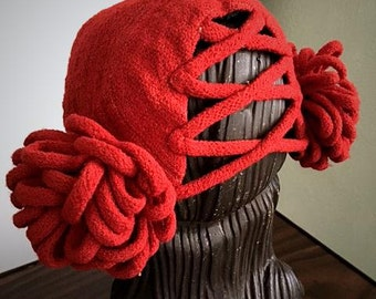 Vintage 1940s Red Fabric Hat . New York Creation . Unusual 40s woven Loops Crisscross Back. WWII Era