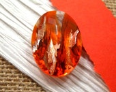 Czech 25x18mm Fire Opal Silver Foiled HC Faceted Glass Oval