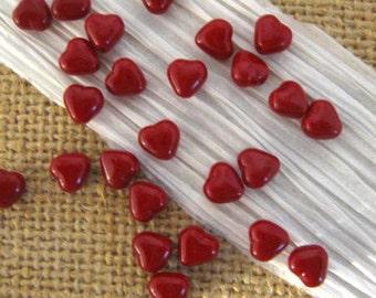 Czech 6mm Opaque Blood Red Heart Beads - 25 Count