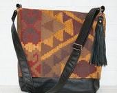 large leather navajo tote bag, leather bag, shoulder tote, navajo print, tassel, handmade, stacylynnc, travel bag, computer bag, messenger