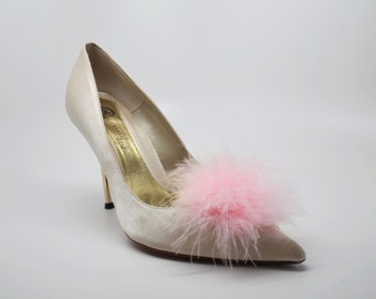 Detachable Feather Puff Pom Pom Shoe Clips  Set of Two Pink