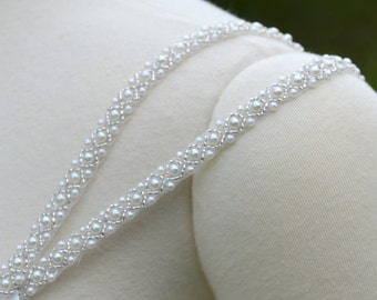 Set of Two Detachable Beaded Double Straps to Add to your Wedding Dress Pearl and Silver