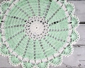 Lovely Crocheted Mint Green White Doily - 10 1/2 inches