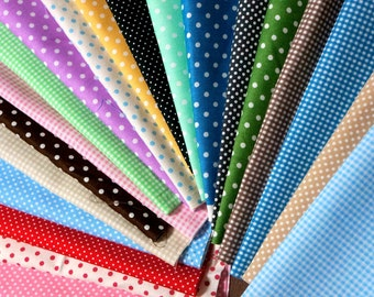 Value set Fabric scrap set colorful gingham and dots  of 20 pieces